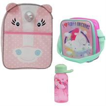 Unicorn Lunch Bag, Unicorn Ears Backpack & Bottle School Set