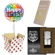 Balloon, Never too Early Gin Goblet Glass and Chocolate Gift Bundle (Rainbow Confetti)