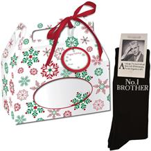 No 1 Brother Novelty | Joke Socks in a Christmas Gift Box | Secret Santa