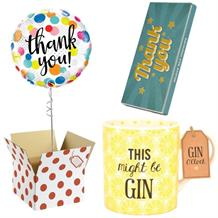 Thank You Balloon, Gin to my Tonic Mug and Chocolate Gift Bundle (Dots)
