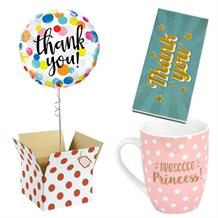 Thank You Balloon, Prosecco Mug and Chocolate Gift Bundle (Dots)