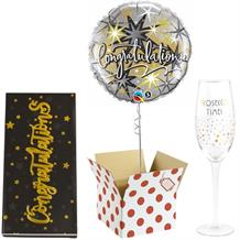 Congratulations Balloon, Prosecco Glass and Chocolate Gift Bundle (Silver Stars)