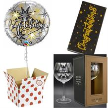 Congratulations Balloon, Evening be Gin Goblet Glass and Chocolate Gift Bundle (Silver Stars)