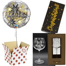 Congratulations Balloon, Never too Early Gin Goblet Glass and Chocolate Gift Bundle (Silver Stars)