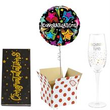 Congratulations Balloon, Prosecco Glass and Chocolate Gift Bundle (Multi-Coloured Stars)
