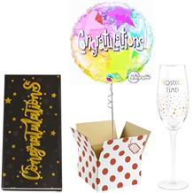 Congratulations Balloon, Prosecco Glass and Chocolate Gift Bundle (Holographic)