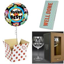 Well Done Balloon, Evening be Gin Goblet Glass and Chocolate Gift Bundle