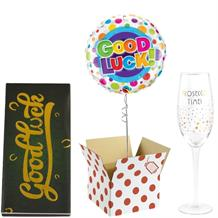 Good Luck Balloon, Prosecco Mug and Chocolate Gift Bundle (Dots)