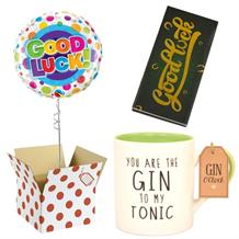Good Luck Balloon, Gin to my Tonic Mug and Chocolate Gift Bundle (Dots)