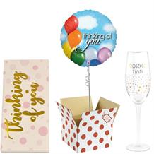 Thinking of You Balloon, Prosecco Mug and Chocolate Gift Bundle