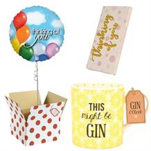 Thinking of You Balloon, This Might be Gin Mug and Chocolate Gift Bundle