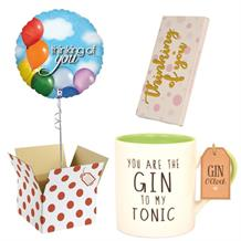 Thinking of You Balloon, Gin to my Tonic Mug and Chocolate Gift Bundle
