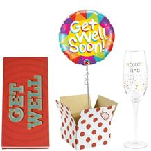 Get Well Soon Balloon, Prosecco Mug and Chocolate Gift Bundle