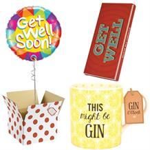 Get Well Soon Balloon, This Might be Gin Mug and Chocolate Gift Bundle