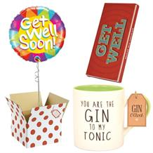 Get Well Soon Balloon, Gin to my Tonic Mug and Chocolate Gift Bundle