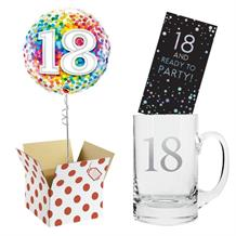 18th Birthday Balloon, Tankard Glass and Chocolate Gift Bundle