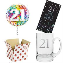 21st Birthday Balloon, Tankard Glass and Chocolate Gift Bundle