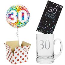 30th Birthday Balloon, Tankard Glass and Chocolate Gift Bundle