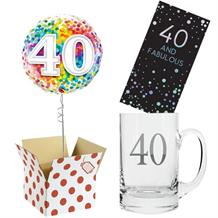 40th Birthday Balloon, Tankard Glass and Chocolate Gift Bundle