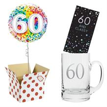 60th Birthday Balloon, Tankard Glass and Chocolate Gift Bundle