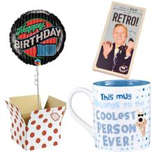 Happy Birthday Dad Balloon, Boofle Coolest Mug and Chocolate Gift Bundle