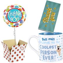 Thank You Balloon, Boofle Coolest Mug and Chocolate Gift Bundle (Patterned)