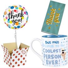 Thank You Balloon, Boofle Coolest Mug and Chocolate Gift Bundle (Dots)