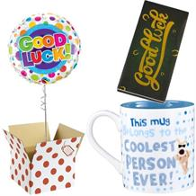 Good Luck Balloon, Boofle Coolest Mug and Chocolate Gift Bundle (Dots)