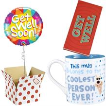 Get Well Soon Balloon, Boofle Coolest Mug and Chocolate Gift Bundle