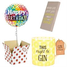 Balloon, This Might be Gin Mug and Chocolate Gift Bundle (Rainbow Confetti)
