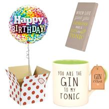 Balloon, Gin to my Tonic Mug and Chocolate Gift Bundle (Rainbow Confetti)