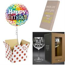 Balloon, Evening be Gin Goblet Glass and Chocolate Gift Bundle (Rainbow Confetti)