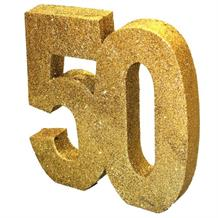 Gold Glitter Number 50 Anniversary Table Centrepiece | Decoration