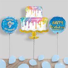 Inflated Happy Birthday Boy | Blue Helium Balloon Package in a Box