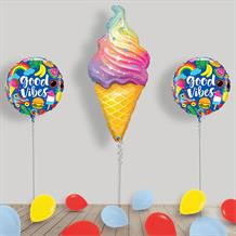 Inflated Ice Cream Cone Helium Balloon Package in a Box