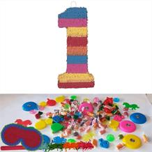 Number 1 Rainbow Design Pinata Party Kit with Sweets, Favours and Confetti