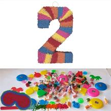 Number 2 Rainbow Design Pinata Party Kit with Sweets, Favours and Confetti