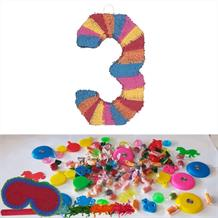 Number 3 Rainbow Design Pinata Party Kit with Sweets, Favours and Confetti