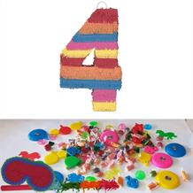 Number 4 Rainbow Design Pinata Party Kit with Sweets, Favours and Confetti