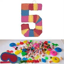 Number 5 Rainbow Design Pinata Party Kit with Sweets, Favours and Confetti