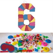 Number 6 Rainbow Design Pinata Party Kit with Sweets, Favours and Confetti