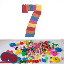 Number 7 Rainbow Design Pinata Party Kit with Sweets, Favours and Confetti
