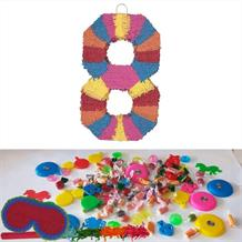 Number 8 Rainbow Design Pinata Party Kit with Sweets, Favours and Confetti