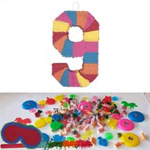Number 9 Rainbow Design Pinata Party Kit with Sweets, Favours and Confetti