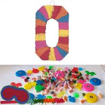 Number 0 Rainbow Design Pinata Party Kit with Sweets, Favours and Confetti