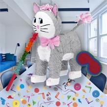 Grey Cat Pinata Party Kit with Sweets, Favours and Confetti