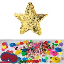 Gold Foil Star Pinata Party Kit with Sweets, Favours and Confetti