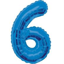 "Blue Glitz 34"" Number 6 Supershape Foil 