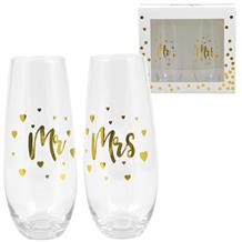 Mr and Mrs Gold Hearts Stemless Champagne Glasses | Keepsake
