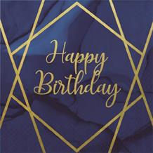 Navy Blue & Gold Geode Happy Birthday Party Napkins | Serviettes